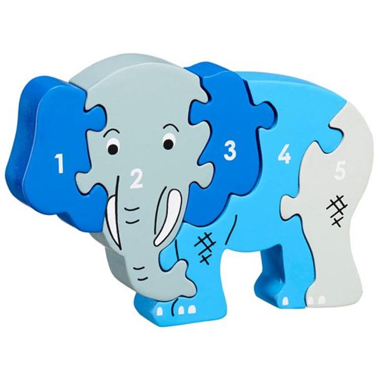 LANKA KADE - Puzzle en bois Chiffres 1-5 Eléphant