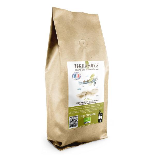 Terramoka - Café Bio en grains 1 KG Arthur -  Arabica et Robusta Bio