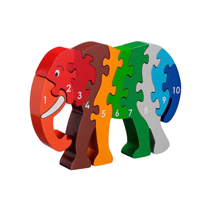 LANKA KADE - Puzzle en bois Chiffres 1-10 Eléphant