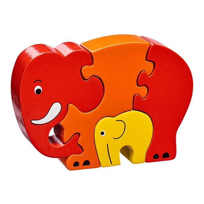 LANKA KADE - Puzzle en bois Eléphant Rouge et son bébé