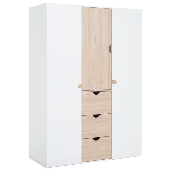Vox - Armoire 3 portes Stige - Blanc et bois
