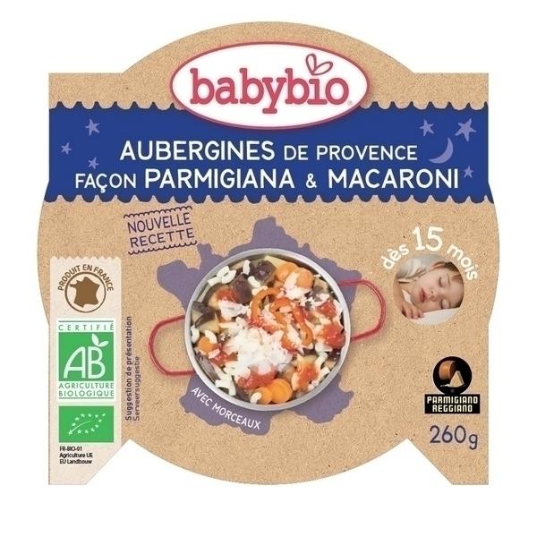 Babybio - Assiette Aubergines Macaroni Dès 15 mois - 260gr