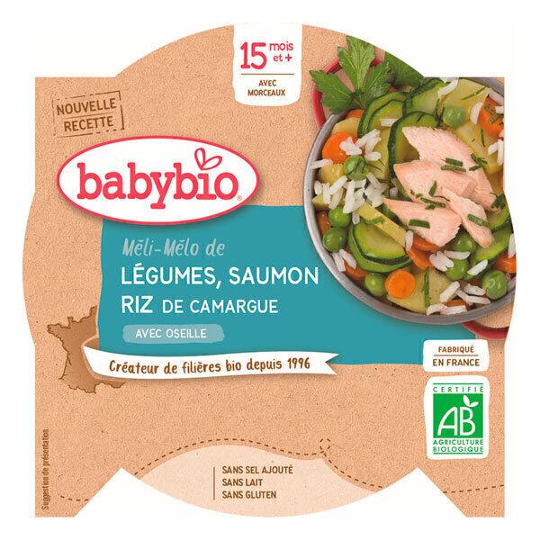 Babybio - Assiette, P'tit Plat Légumes Saumon, 260g, dès 15 mois