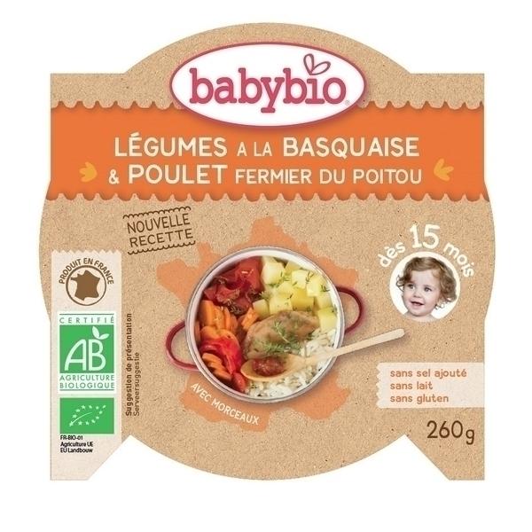 Babybio - Assiettes, P'tit Plat Poulet Basquaise, 260g, dès 15 mois