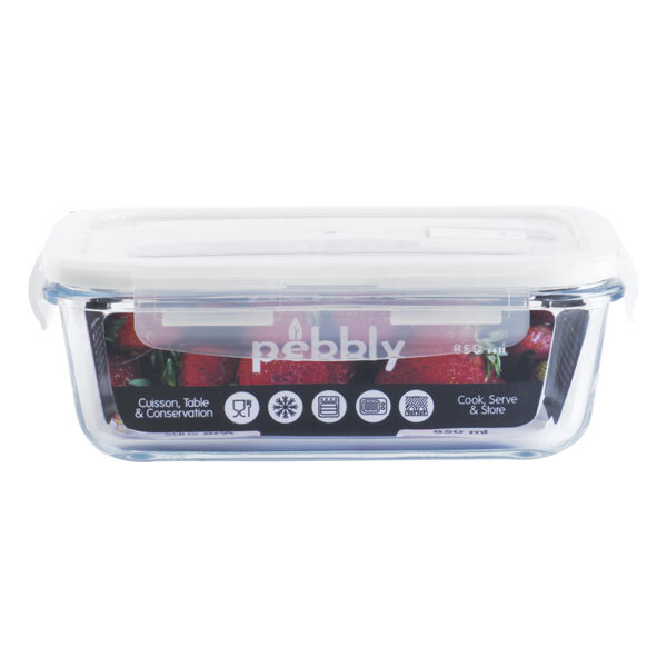Pebbly - Boîte rectangulaire en verre borosilicate 120cl