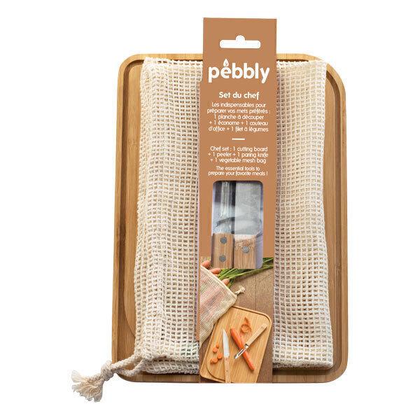 Pebbly - Set planche à découper économe couteau filet à légumes