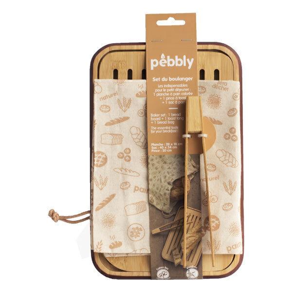 Pebbly - Set planche à pain 28x18cm pince à toast sac à pain 40x34cm
