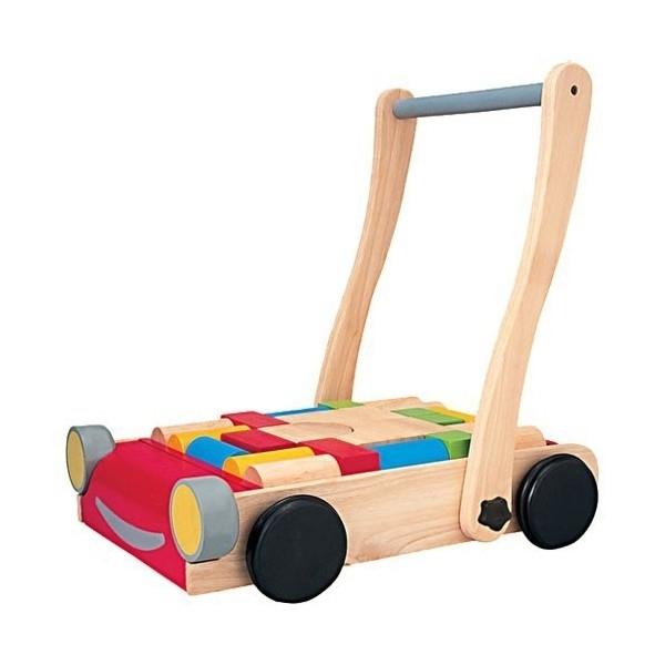 Plan Toys - Chariot de marche avec cubes