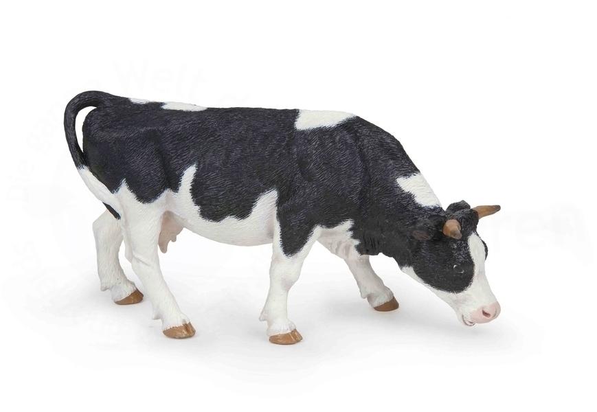 Papo - Vache noire et blanche broutant