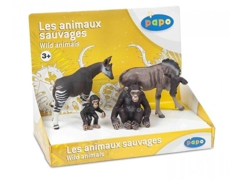 Papo - Okapi, Gnou, un chimpanzé et son petit