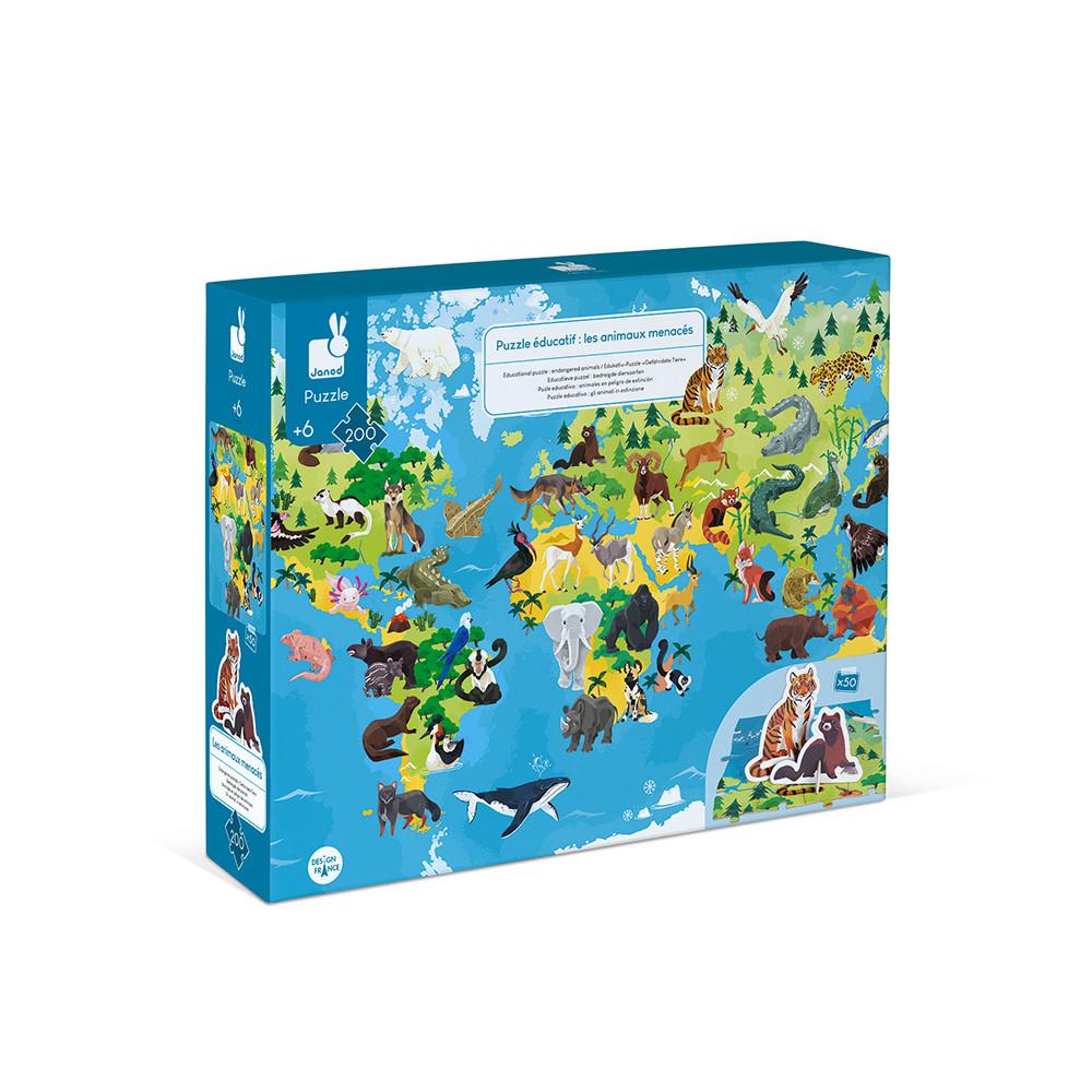 Janod - Puzzle éducatif Animaux menacés 200 pcs