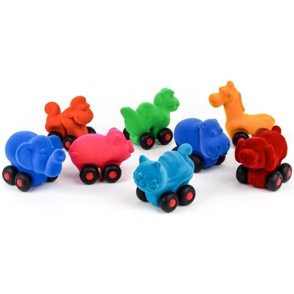 RUBBABU - Lot de 8 micro animaux roulants