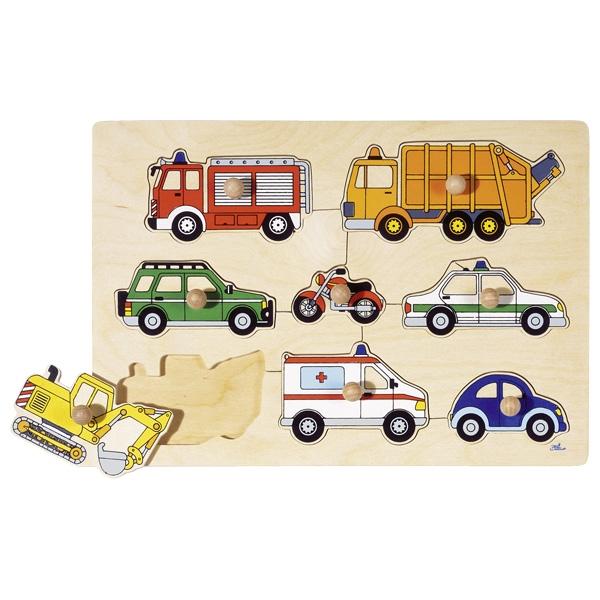 Goki - Puzzle à boutons Moyens de transport 8 éléments