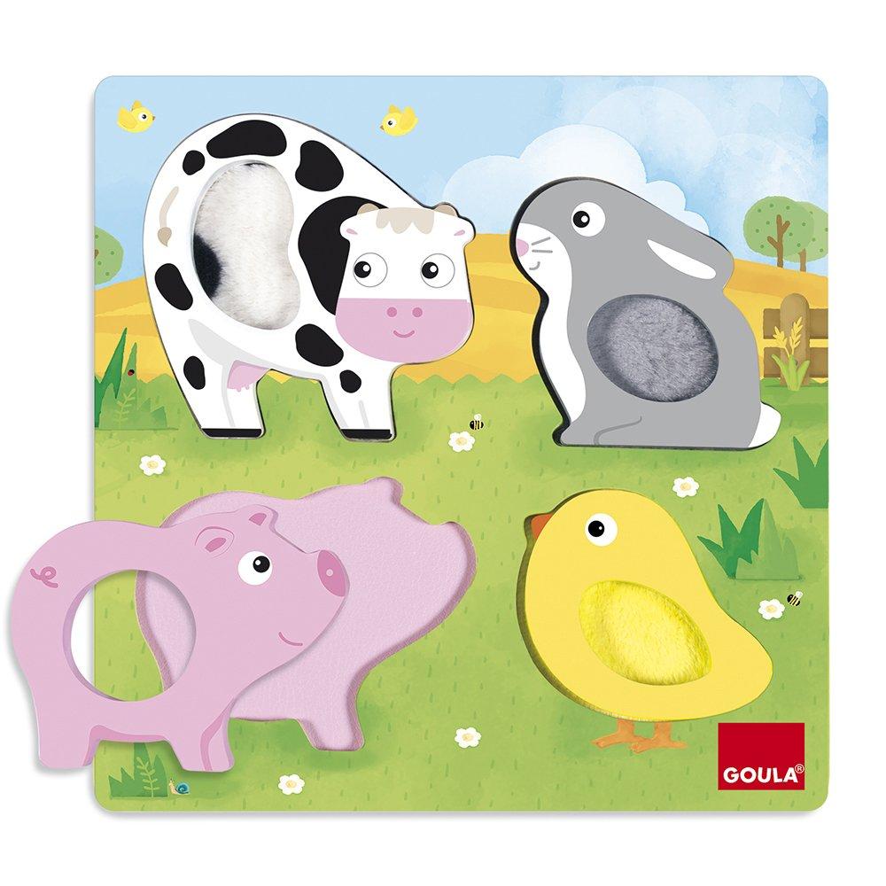 Goula - Puzzle tactile animaux de la ferme