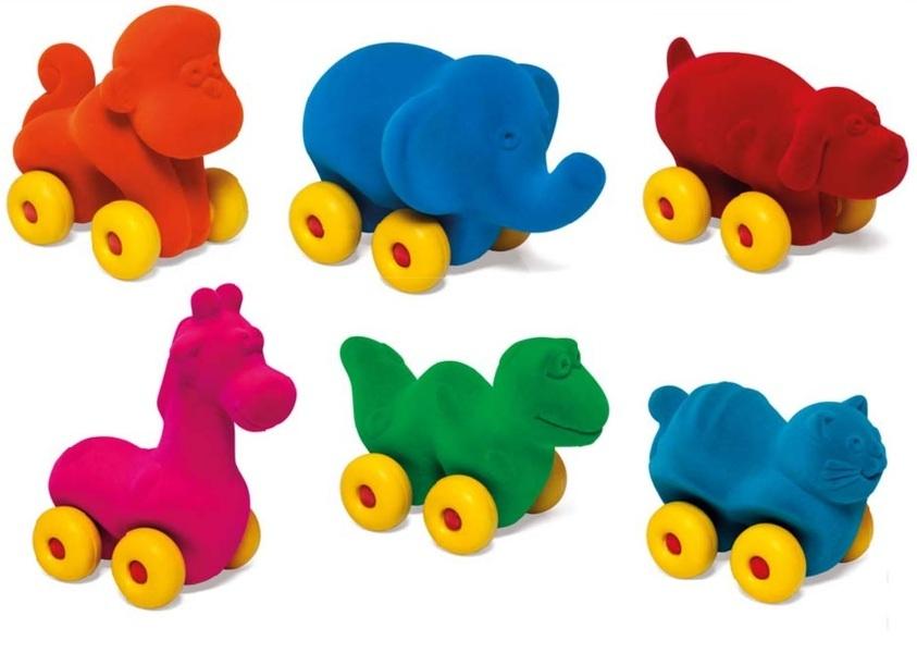 RUBBABU - Lot de 6 animaux roulants