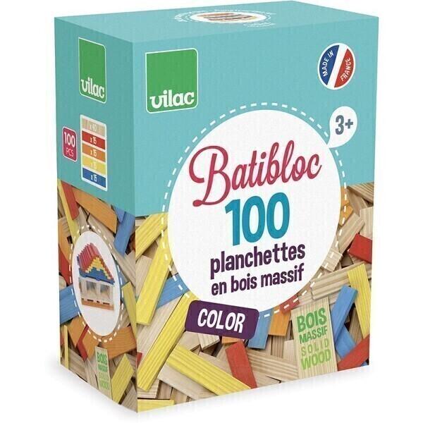 Vilac - Batibloc Couleur 100 Pièces Hêtre Massif