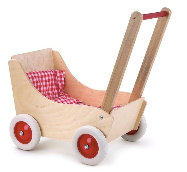 Egmont Toys - Landau en hêtre avec tissu vichy rouge