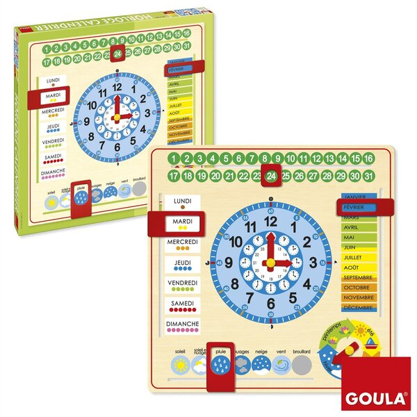 Goula - Grande Horloge Calendrier Français