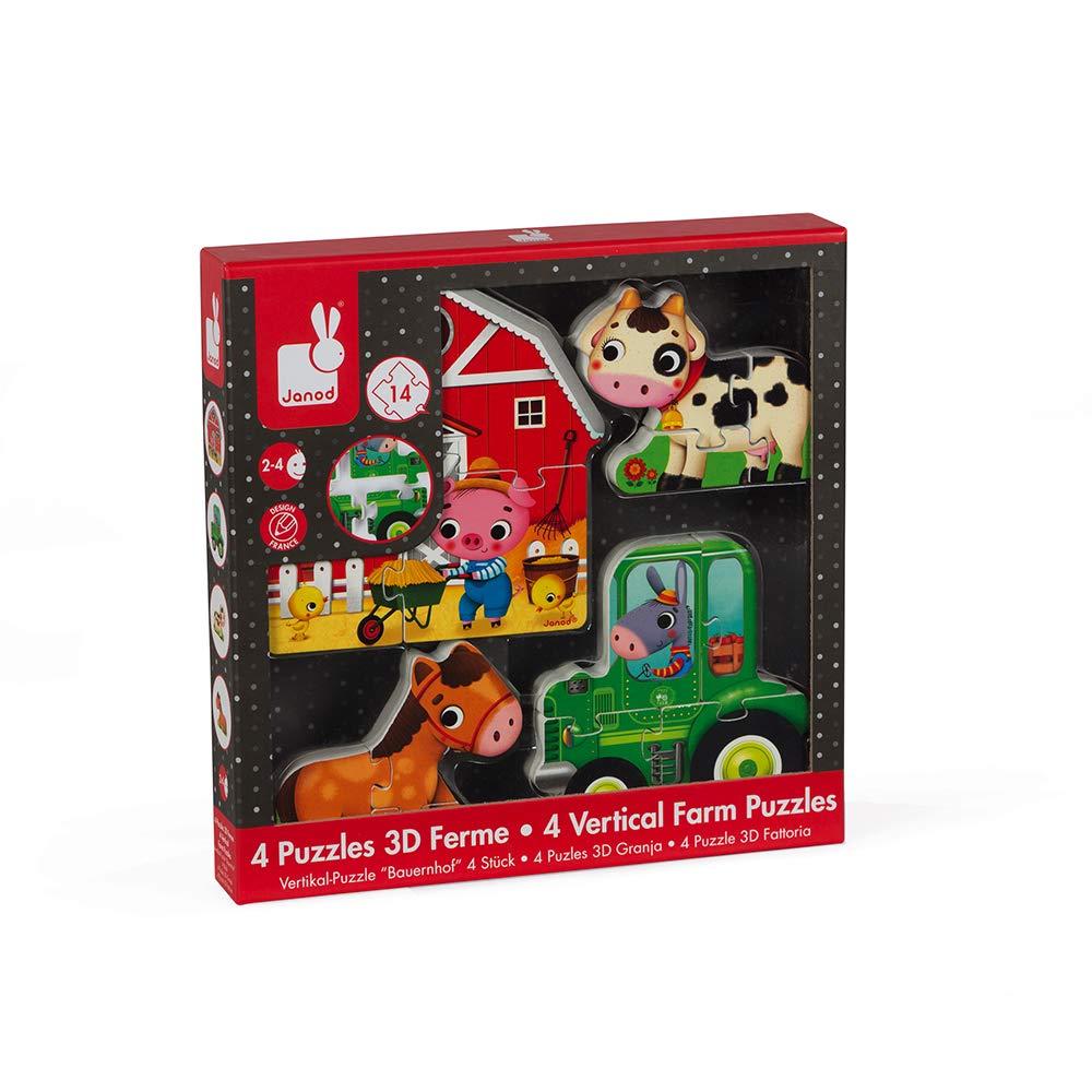 Janod - Coffret 4 puzzles 3D Ferme