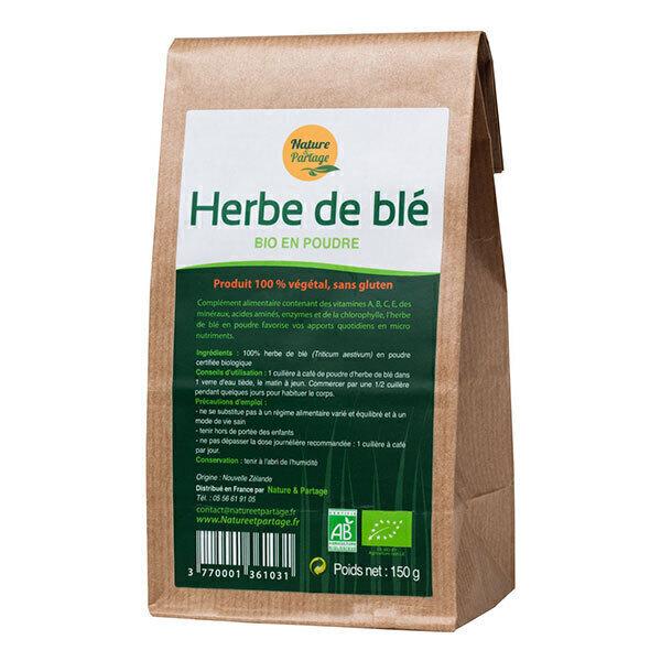 Nature & Partage - Herbe de blé bio en poudre - Sachet de 150g