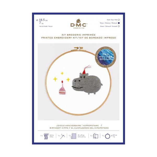 DMC - Kit broderie Joyeux Anniversaire Hippopotame