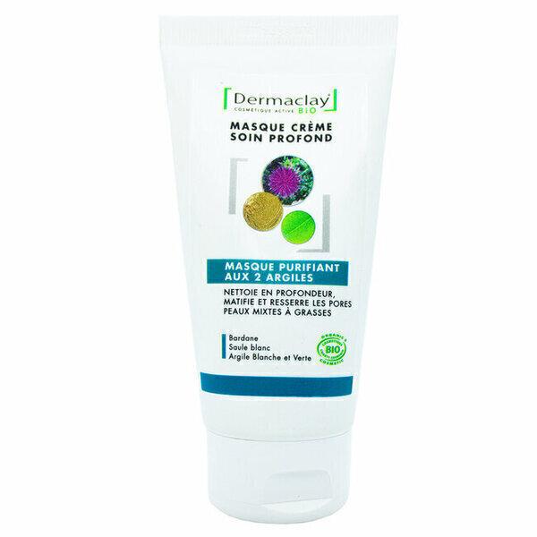 Dermaclay - Masque Purifiant bio aux 2 Argiles Peaux mixtes et grasses 75ml