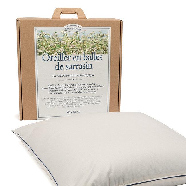 Mille oreillers - Oreiller en balles de Sarrasin biologique - 60 x 60 cm