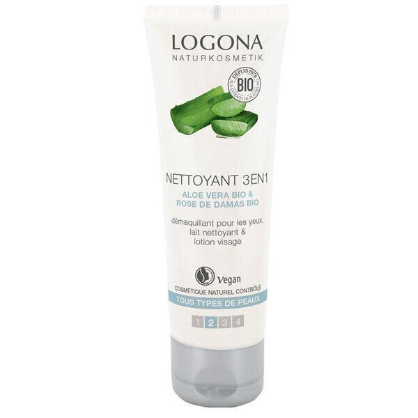 Logona - Nettoyant 3 en 1 Visage Aloe vera - Tous types de peaux 100ml