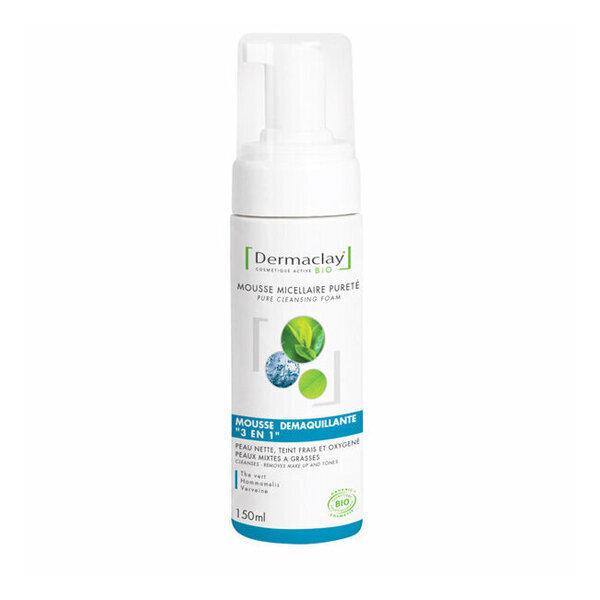 Dermaclay - Mousse Micellaire Démaquillante bio Peaux mixtes à grasses 150ml