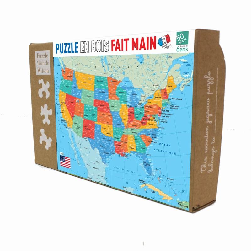 Michèle Wilson - Puzzle Carte des Etats-Unis