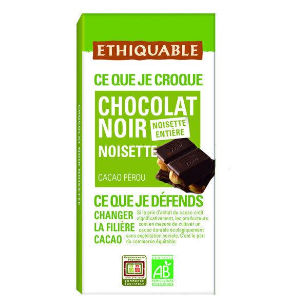 Ethiquable - Tablette chocolat noir 65% noisettes entières Pérou 100g