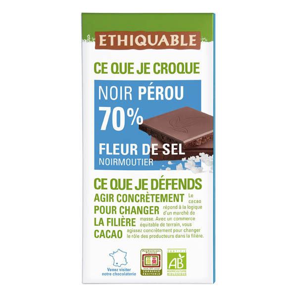 Ethiquable - Tablette chocolat noir 70% sel de Camargue Pérou 100g