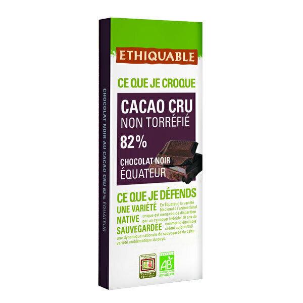 Ethiquable - Tablette chocolat noir 82% cacao cru Equateur 80g