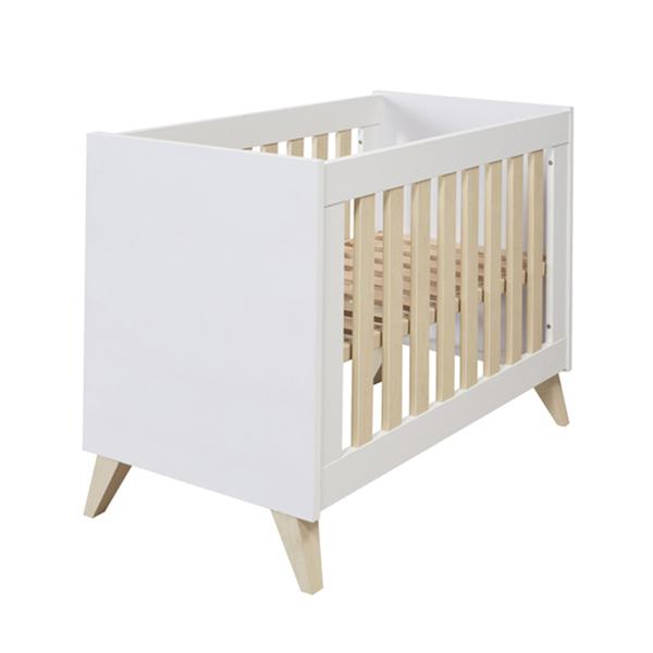 Ikid - Lit bébé 60x120 Lazio - Blanc et bois
