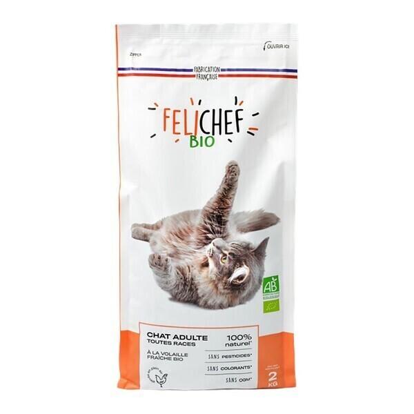 Felichef - Croquettes chat adulte à la volaille 2kg bio