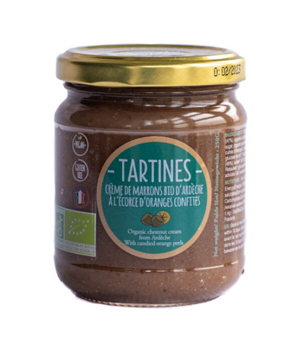 Tartines & Oléa - Crème de marrons bio d'Ardèche À L'ÉCORCE D'ORANGE CONFITE