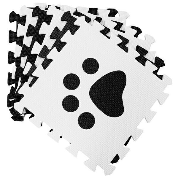 Costway - Tapis en mousse puzzle 24 pièces noir et blanc pattes d'animal 3