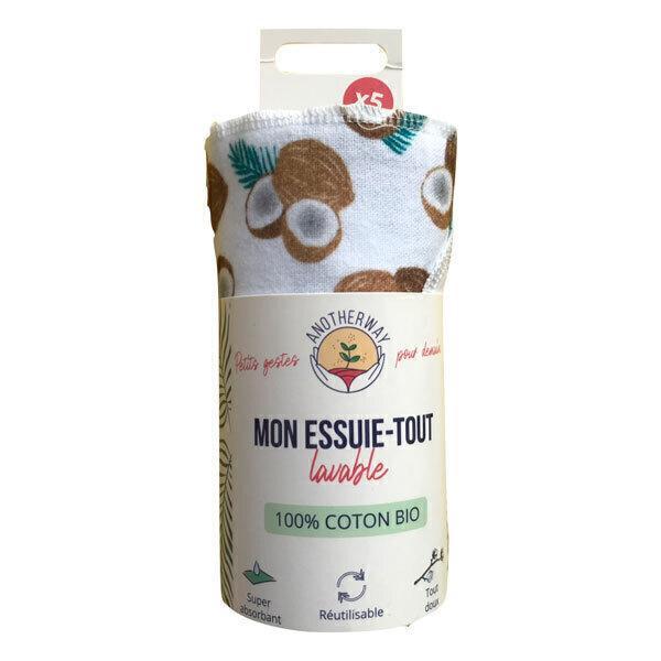 Anotherway - Lot de 5 essuie-tout réutilisables coton bio