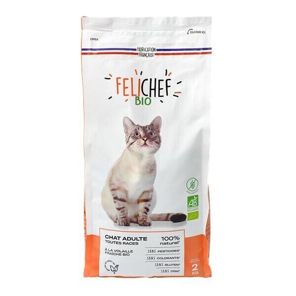 Felichef - Croquettes chat adulte sans céréales 2kg bio