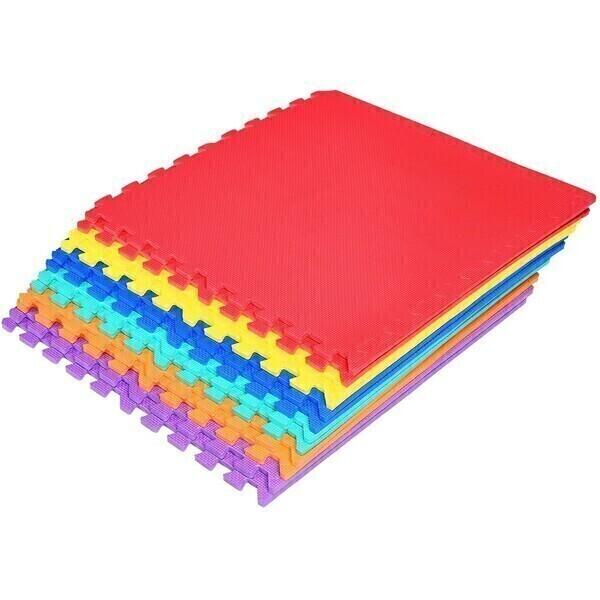 Costway - Tapis puzzle en mousse 12 pièces multicolores de 61 x 61cm