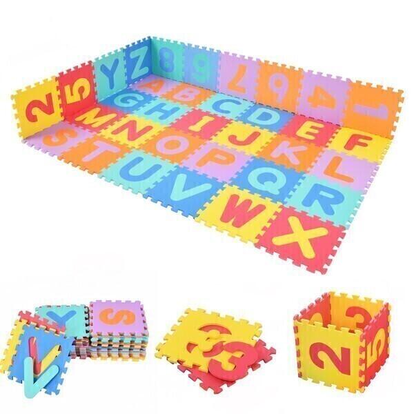Costway - Tapis en mousse puzzle 86 pièces colorées lettres et chiffres 30