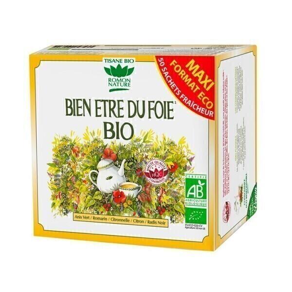 Romon Nature - Tisane Bien être du foie bio - 50 sachets