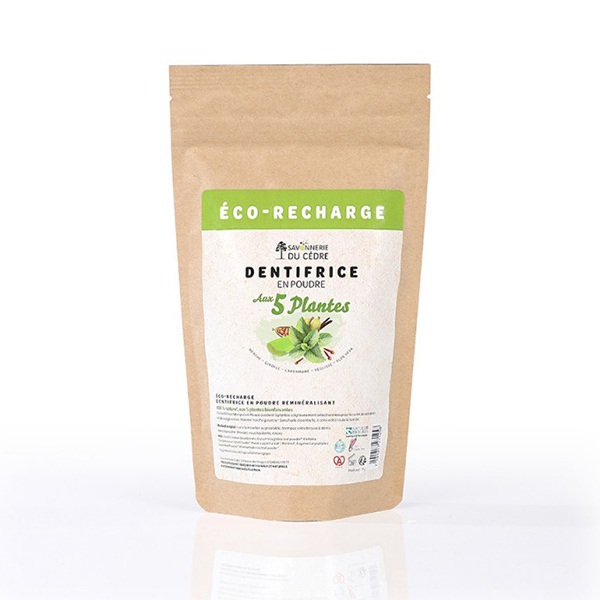 La Savonnerie du Cèdre - Eco-recharge dentifrice en poudre aux 5 plantes 35g