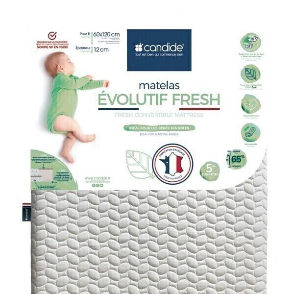 Candide - Matelas bébé 60x120cm Évolutif Fresh déhoussable