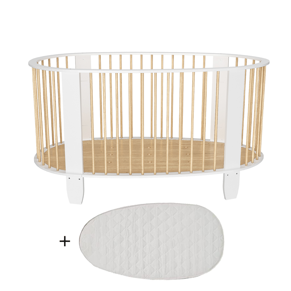 Songes et Rigolades - Lit bébé 60x120 matelas inclus Cocon - Blanc et bois