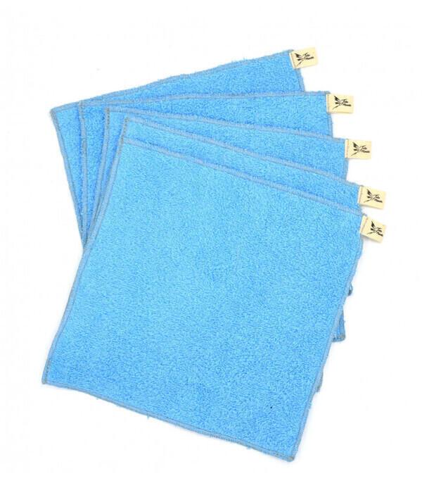 Jolie Planète - 5 Essuie-tout lavables Bleu Clair, Liseré Gris