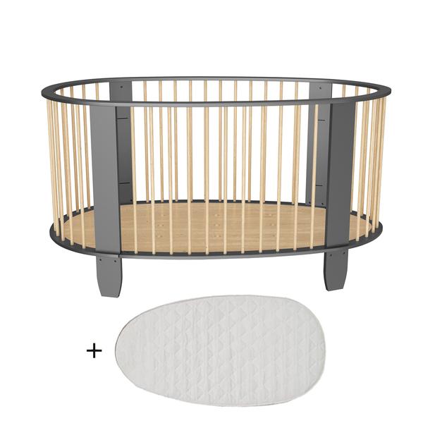 Songes et Rigolades - Lit bébé 60x120 matelas inclus Cocon - Gris anthracite et bois