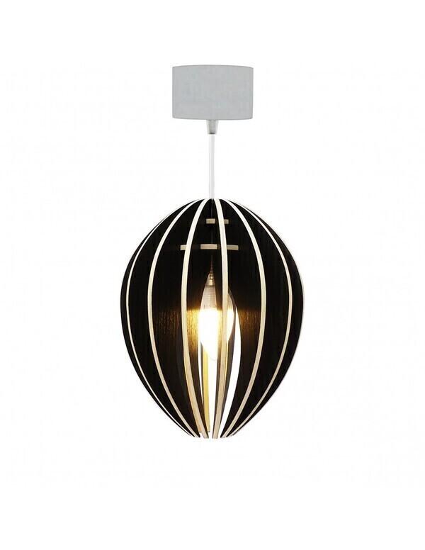 Gone's - FEVE - Lampe suspension bois frêne teinté noir cordon blanc
