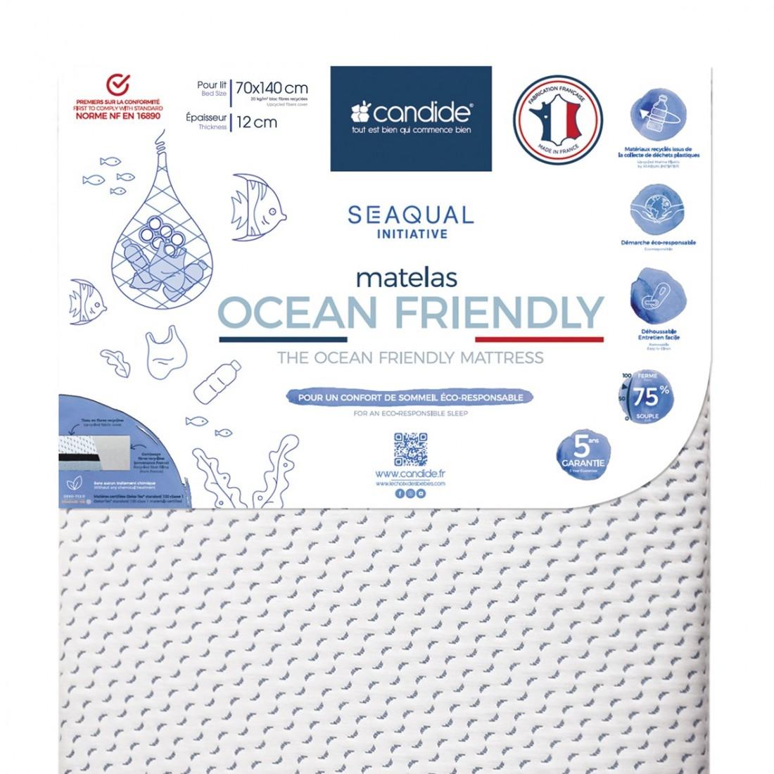 Candide - Matelas bébé 70x140cm Ocean friendly