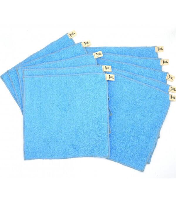 Jolie Planète - 10 Essuie-tout lavables Bleu Clair, Liseré Gris